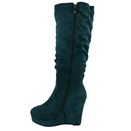Damen Stiefel Keilabsatz leicht gefüttert High Heels Boots Wedge Stiefeletten JA72 Grün uni