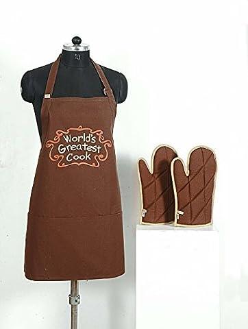 Handgemachte Grafik-Display Print Schürze & Ofen Mitt Set - 100 % Baumwolle - Küche-Geschenke Für Frauen, Apg03-G008