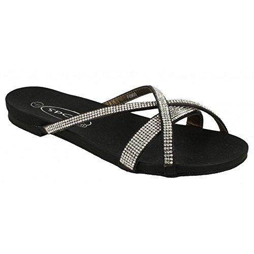 Spot On Damen Sandalen mit Strasssteinen Silber