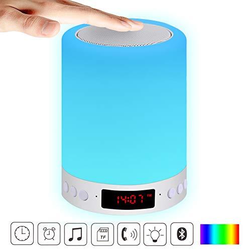 Lautsprecher Lampe ACRATO Musik Nachtlichtlampe Tischlampe mit Wecker, Dimmbar und Farbwechsel für Schlafzimmer Schlafhilfe Tischdeko