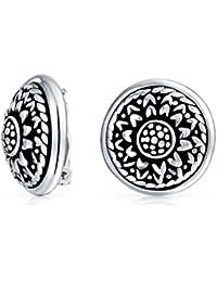 Bling Jewelry 925 plata Flor redonda Motif Espárrago pendientes de clip