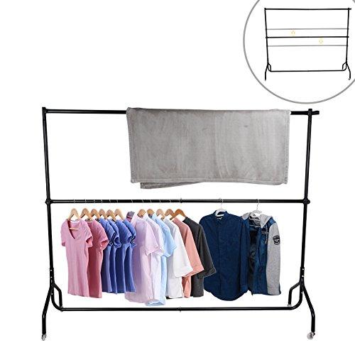 Voilamart Doppelstock Kleiderständer Garderobenständer mit Rollen Höheverstellbar bis 154 cm Metallrohr Schwarz
