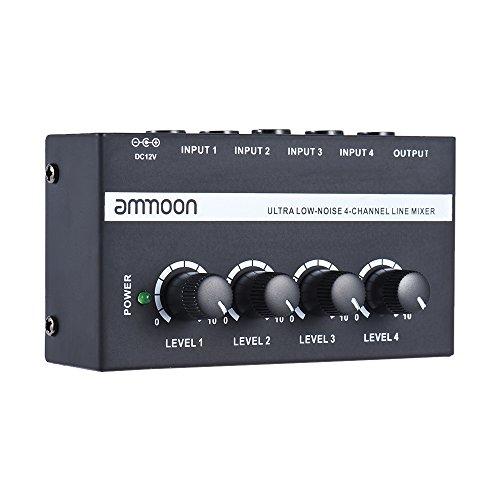 ammoon MX400 Ultra Compacto Ruido Bajo Línea de 4 Canales Mono Audio Mixer con Adaptador de Corriente