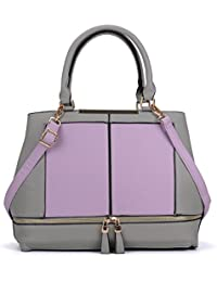 Sally Young Ladies Women's Fashion Contrast Women Tote Bag With Zip Detail - Purple