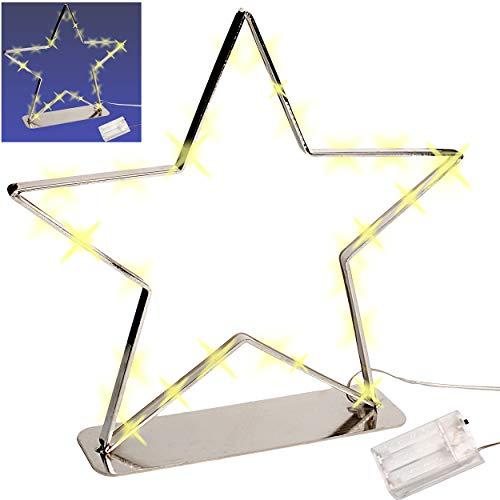 alles-meine.de GmbH großer XL _ LICHT Dekostern - 30 Stück LED - 27 cm - Stern Batterie betrieben - Lichterstern mit Beleuchtung - mit Ständer zum Hinstellen - Weihnachten - Weih..