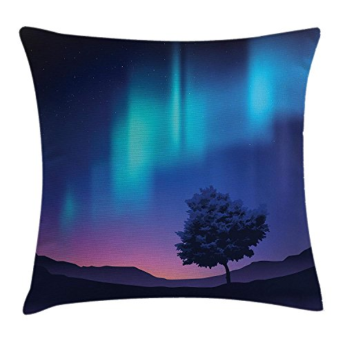beautiful& Fantasy Pillow case The Aurora Borealis with A Tree in Arctic Region Magical Rare Sky Up View Print 30 X 20 inches