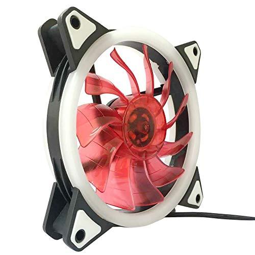 Doppelte Öffnung (EERTX Gehäuse Halo mit doppelter Öffnung, Computergehäuse, Anpassung des Lüfters für PC-Kühlung, LED, 120 mm, leise, 12 x 12 cm, rot, 120x120x25mm)
