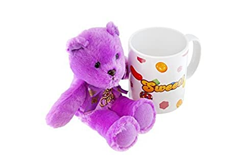 Candy Crush Gift-Wrapped Teddy Bear Plush with Ceramic Mug, Purple by Candy Crush