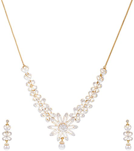 Sempre of London Pearl Necklace with Earrings in CZ Crystal Diamonds For Women