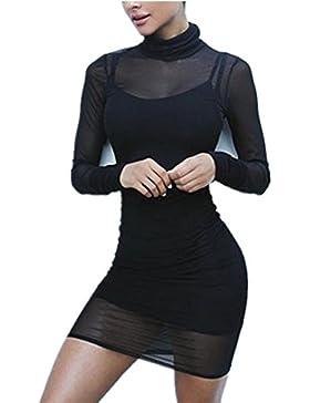 Uideazone Frauen-reizvolles Clubwear-Ineinander greifen-bloßes sehen langes Hülsen-Trikotanzug-Kleid
