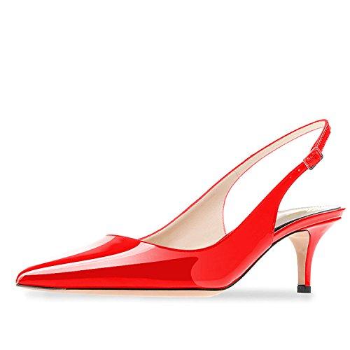 Lutalica Frauen Kitten Heel Spitze Patent Slingback Kleid Pumps Schuhe für Party Patent Rot Größe 37 EU Sexy Red Patent Schuhe