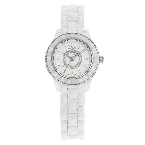Christian Dior Women's 28mm White Ceramic Band & Case Quartz Silver-Tone Dial Analog Watch CD1221E2C001
