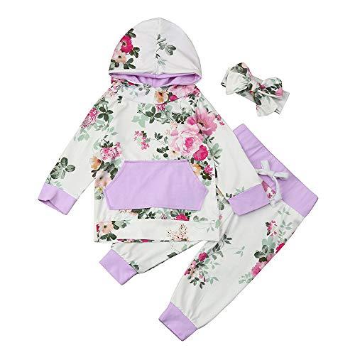 3pcs Kleinkind Babybekleidung Pullover Set Winter Wamre Mädchenbekleidung Jungenbekleidung Baby Mädchen Kleidung Set Hoodie Tops + Pants + Stirnband Felicove