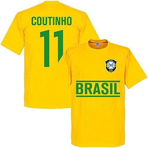 Camiseta de manga corta, diseño de Coutinho del equipo de fútbol de Brasil, color amarillo Amarillo amarillo XX-Large