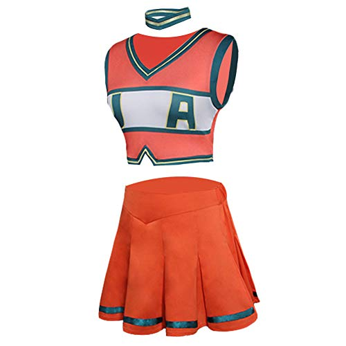 Cheerleader Kostüm Heroes - Tianxinshop Boku no Hero Cheerleadin Dress Cosplay Kostüm-2 Stücke Bakugou Katsuki Outfits nackter Zwerchfell Crop Top + Kurzer Rock Setzt