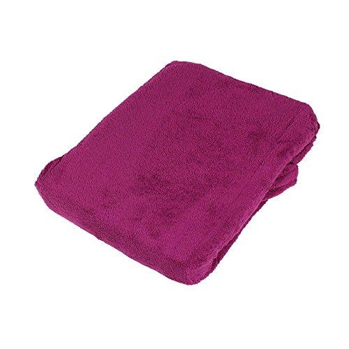 Casa Colori Kuschelponche mit Tasche aus 100% Polyester Poncho Fleecemantel Fleecedecke kuschelig warm 60x90 cm tolle Farbwahl, Farbauswahl:Beere - Polar-poncho