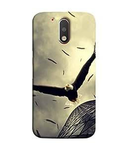 PrintVisa Designer Back Case Cover for Motorola Moto G4 Plus (Eagle Vulture Fly Blocks Building )