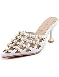 SHOWHOW Damen Sexy Perle Geschlossene Cut Out Sommerschuhe Pantoffeln Rosa 42 EU
