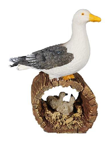 Maritim Möwe mit Nest und Baby 14 x 10 cm Vogel Nordsee Figur Deko GCG 3260 -