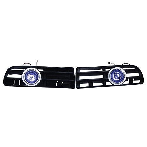 Custom OEM Replacement 2x Front Blue Lens Amber Fog Lights Lamp & Side Grilles With CCFL Left Right 12V for 1999-2004 Volkswagen Golf MK4