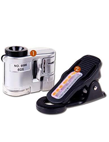 60X Mini mit LED Licht Handy Mikroskop Universal Clip Art verwendet um Schmuck zu identifizieren, Diamanten, Antiquitäten, Geldscheine, Wenwan, etc.