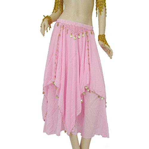 Mit Federn Kostüm Dance Latin - Byjia Chiffon Bauchtanz Rock Mit Attached Hip Schal Gürtel Gold Münzen & Perlen Kostüm Pink F