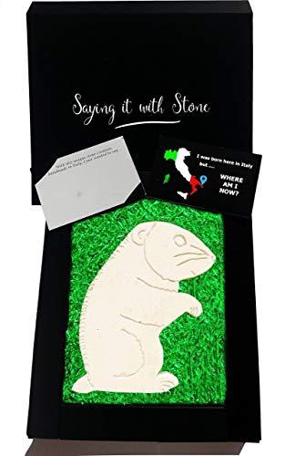 Hamster aus Stein - Symbol der Spaß - Handgemacht in Italien - Box und Nachrichtenkarte enthalten - Geschenk Geschenkidee Geburtstag Jahrestag Hochzeitstag Hochzeit Männer Frauen Mädchen Mama Papa - Symbol Spas