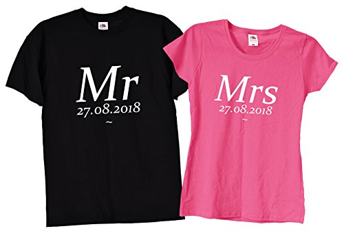 5a3cb1609 TrendySnug Tees Personalised Cute Mr & Mrs Matching Couples T-Shirts, 39 -  Different