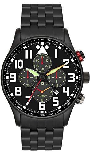 Astroavia Herren-Armbanduhr Alarm Chronograph Quarz mit Edelstahl Armband V7S