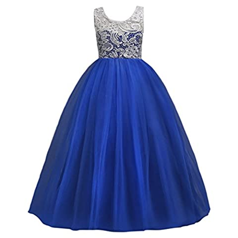 Zhhlaixing Big Girls Lace Bridesmaid Dress Long Wedding Pageant Dresses Tulle Party Gown