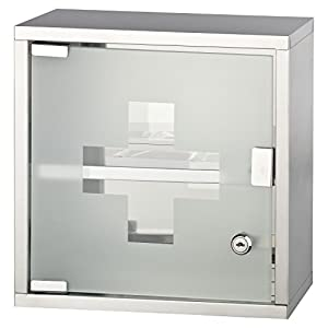 HEIMWERT Profi Medizinschrank Edelstahl 2 Fächer | HxBxT: ca. 30 x 30 x 12,5 cm | abschließbare Glas-Tür mit 2 Schlüsseln | Medikamente kindersicher lagern | Feuchtraum geeignet | inkl.Montagematerial