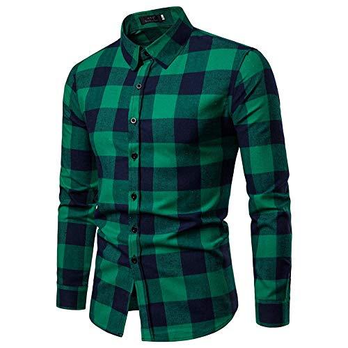 NINGSANJIN Herren Hemd aus Bambusfaser umweltfreudlich Elastisch Slim Fit für Freizeit Business Hochzeit Reine Farbe Hemd Langarm Herren-Hemd (Grün,L)