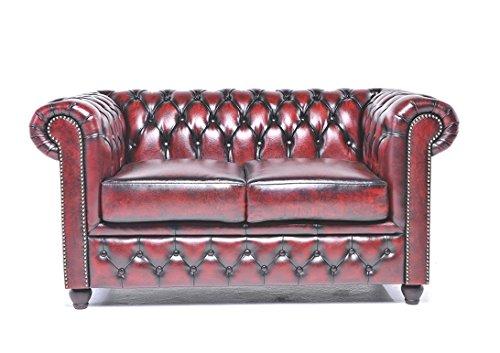 Original Chesterfield Sofa – 2 Sitzer – Vollständig Handgewaschenes Leder – Antik Rot