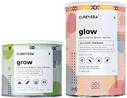 Cureveda Plant Based Glow with Veg Collagen and Grow with Biotin Natural Beauty Protein Powder & 10000 mcg