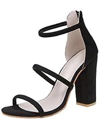 Sandalias de tacón mujer ❤️ Amlaiworld Zapatos de tacón alto para mujer primavera verano Sandalias tacon fiesta Zapatos de playa Calzado zapatillas Mujer con tacones tobilleros sneakers cuñas mujer Zapatos Señoras 35 - 43 (Negro, 39)