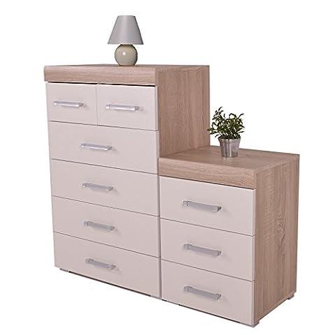 White & Oak 4+2 Drawer Chest & 3 Draw Bedside Cabinet Bedroom Furniture