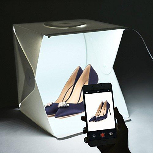 Galleria fotografica Studio fotografico Portatile Tenda corredo luce LightRoom Light Box Gleading 40x40x40cm con luce a LED: Tenda pieghevole con luce + Due Sfondi (bianco e nero)