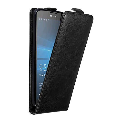 Cadorabo Hülle für Nokia Lumia 950 XL in Nacht SCHWARZ - Handyhülle im Flip Design mit Magnetverschluss - Case Cover Schutzhülle Etui Tasche Book Klapp Style
