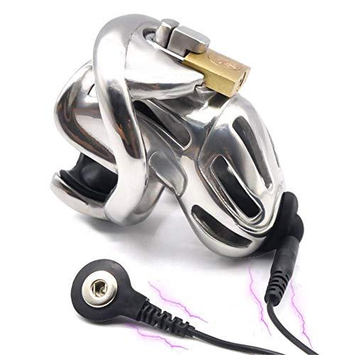 PURELOVEE Männliche Elektro-Keuschheits-Gerät, 316 Edelstahl Chastity Belt Lock mit 3 Größe Penis Ring,Ring45mm
