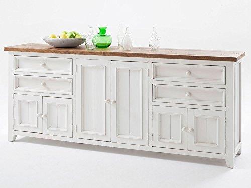 Honig Eiche Buffet (Sideboard weiß Holz Landhaus Byron XXL)