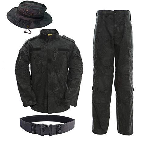 Minghe Herren Taktische Jacke und Hose Sets Militäruniform mit Boonie Hut und Gürtel Kampftarnanzug für die Paintball Jagd