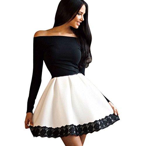 BOBORA Donna di manica lunga aderente abito floreale Off spalla Mini abito corto