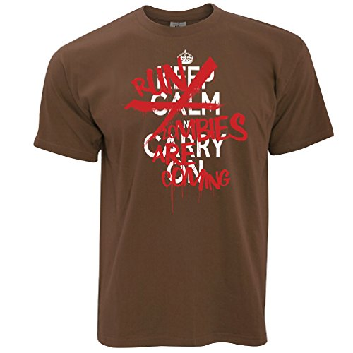 Halloween T-Shirt Keep Calm & Run, Zombies kommen, Chocolate Brown ()