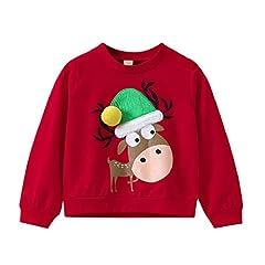 Idea Regalo - VICGREY ❤ Natale Costume, Bambino Natale Guanto Stampa Pullover Felpa Tops Felpe Sportive del Natale Ragazze Ragazzi Pullover Bambini A Manica Lunga Maglione di Natale (2T-11T