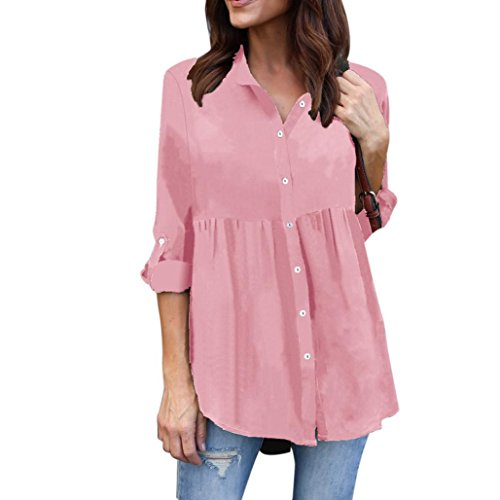 aeb476f0 Kanpola Solid Color Chiffon Lapel Shirt Clearance Womens Plus Size Long  Sleeve Casual Blouse Ladies OL