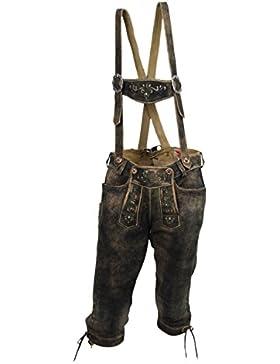 Herren Kniebundlederhose Trachten Lederhose aus Ziegen Leder used forest
