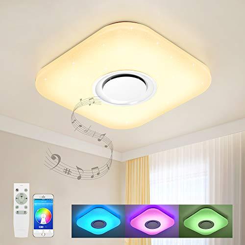 Bluetooth Deckenleuchte Dimmbar mit Bluetooth Lautsprecher 36W Fur Wohnzimmer, Schlafzimmer, Küche und Esszimmer JD830F-36W-LY Küche Musik
