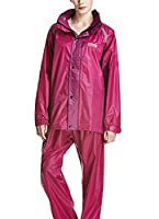 Icegrey Unisex Rainsuit Poncho With Transparent Extended Hood Rose Red Purple 4XL