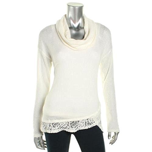 Maison Jules Women's Open Stitch Lace Trim Cowl Pullover Sweater Ivory (XL) (Lace Cowl)