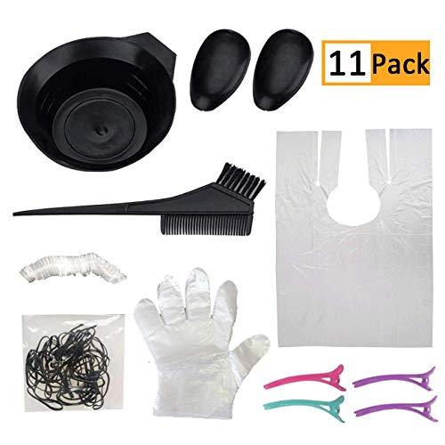 Kit de teñido de pelo para colorear, juego de pinceles para colorear, cuencos, tapones para los oídos, guantes desechables para peluquería, tinte de tinte, kit de peluquería